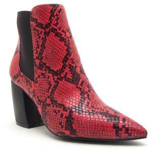 Qupid Milkway faux snakeskin heeled bootie